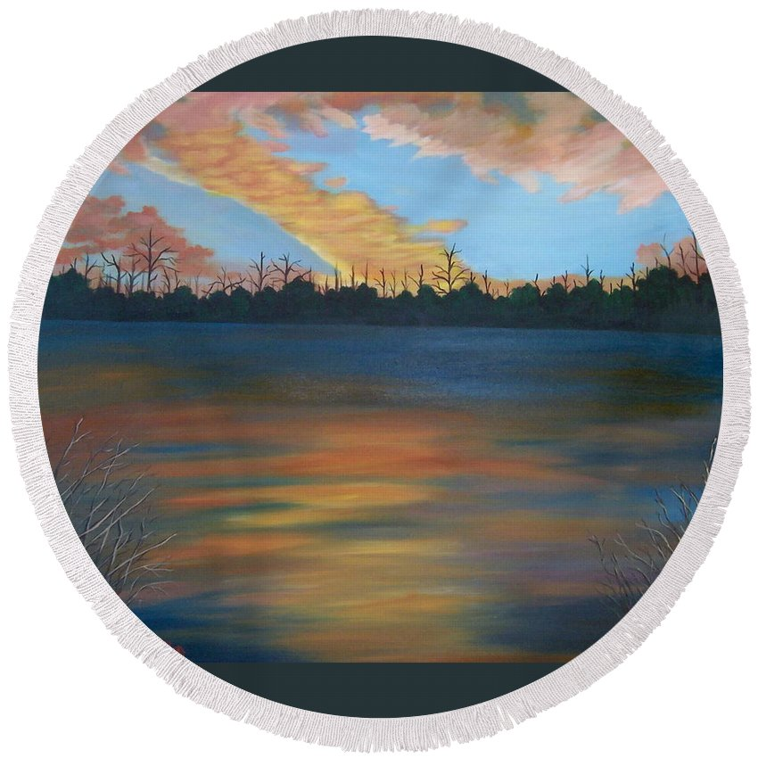 Landscape Round Beach Towel featuring the painting Evening Peace by Ruth Housley
