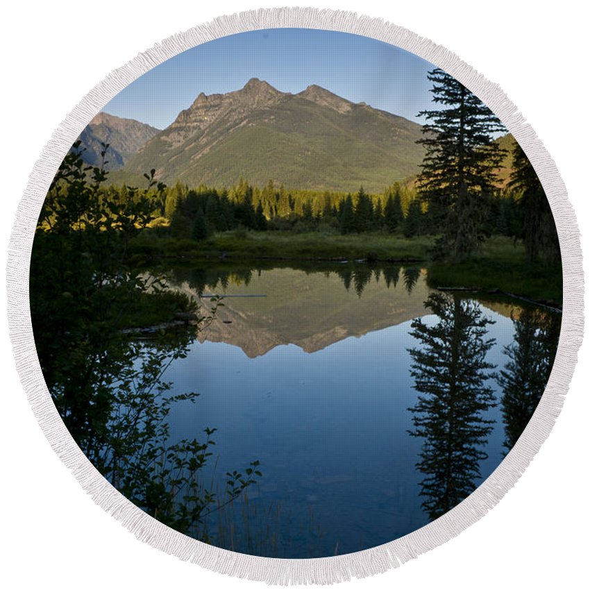 Reflections Round Beach Towel featuring the photograph Evening Reflection by Albert Seger