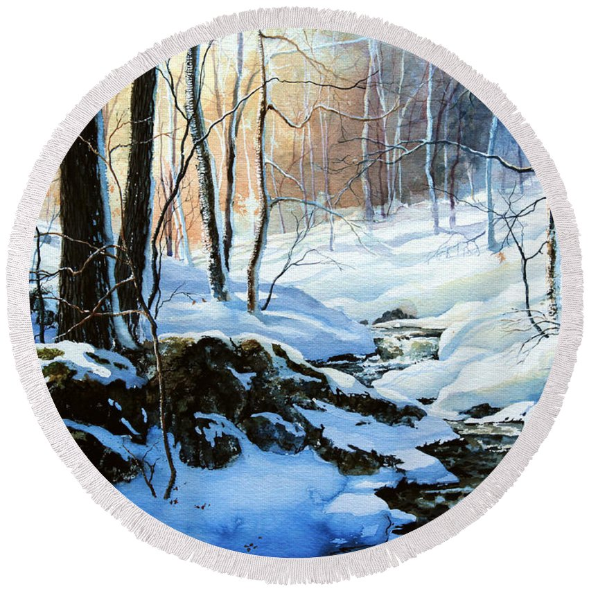 Winter Sunset Art Prints Round Beach Towel featuring the painting Evening Shadows by Hanne Lore Koehler