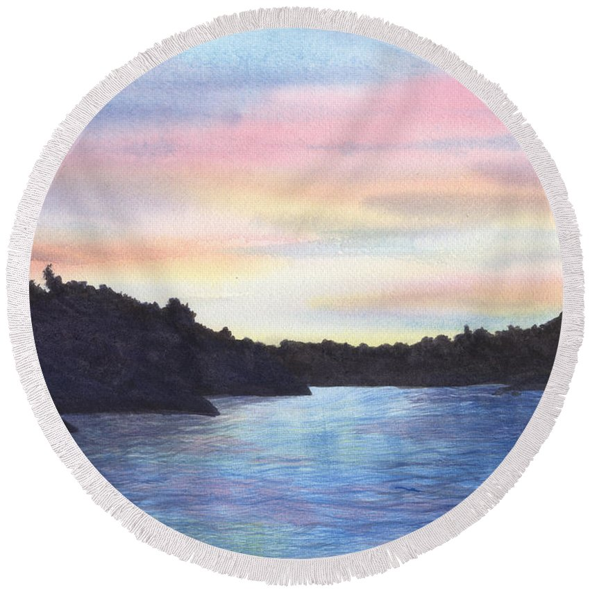 Sunset Round Beach Towel featuring the painting Evening Silhouette by Lynn Quinn
