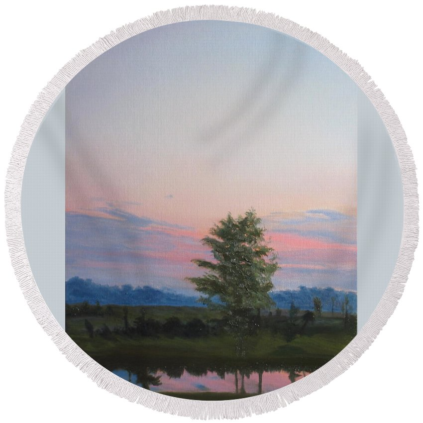 Landscape Round Beach Towel featuring the painting Evening Sky by Lea Novak