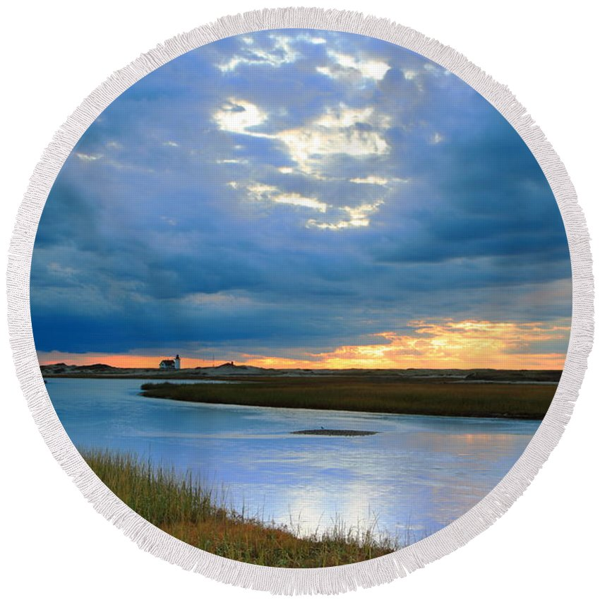 Provincetown Round Beach Towel featuring the photograph Evening Sky Over Hatches Harbor, Provincetown by Roupen Baker
