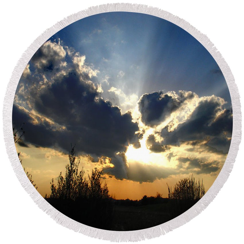 Landscape Round Beach Towel featuring the photograph Evening Sky by Steve Karol