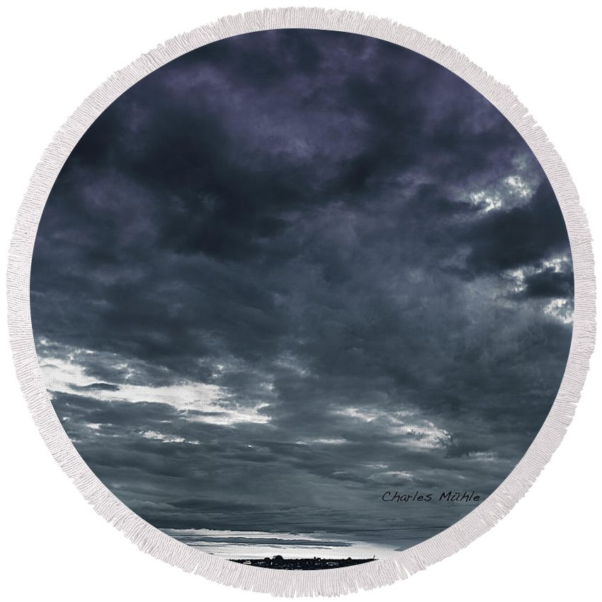 Santa Round Beach Towel featuring the photograph Evening Storm by Charles Muhle