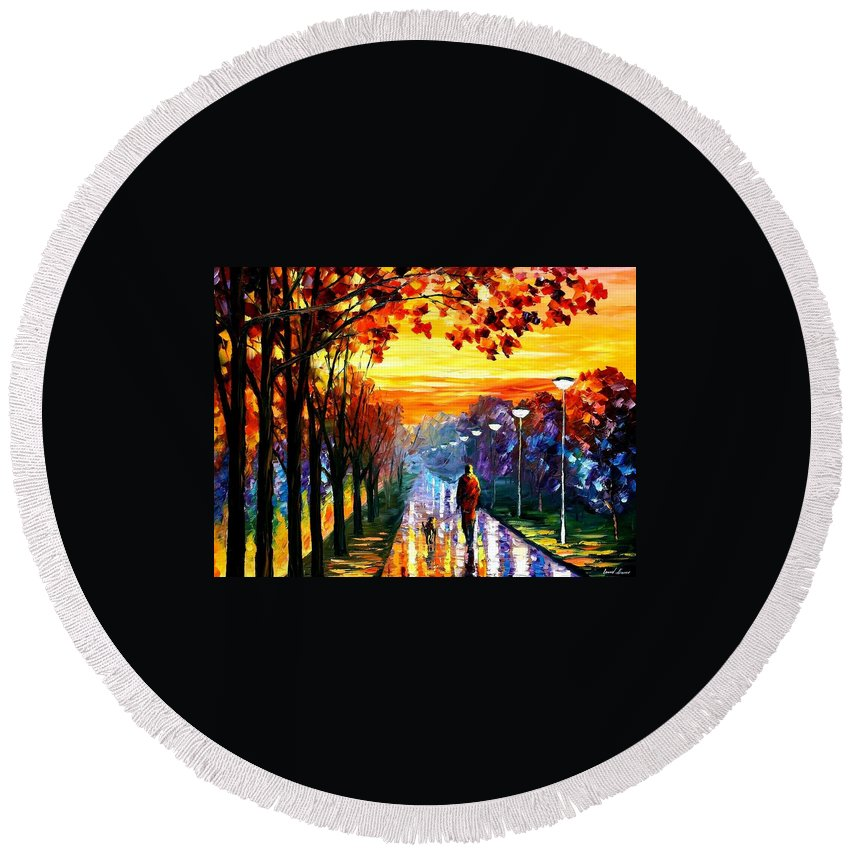 Afremov Round Beach Towel featuring the painting Evening Stroll by Leonid Afremov