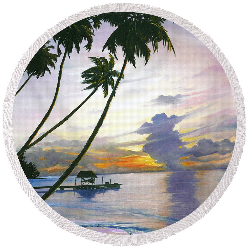 Ocean Painting Seascape Painting Beach Painting Sunset Painting Tropical Painting Tropical Painting Palm Tree Painting Tobago Painting Caribbean Painting Original Oil Of The Sun Setting Over Pigeon Point Tobago Round Beach Towel featuring the painting Eventide Tobago by Karin Dawn Kelshall- Best