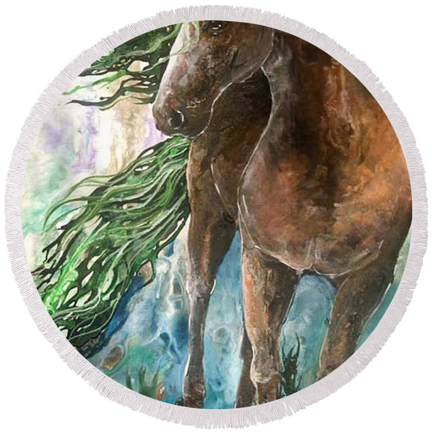 Horse Round Beach Towel featuring the painting Ever Green Earth Horse by Sherry Shipley