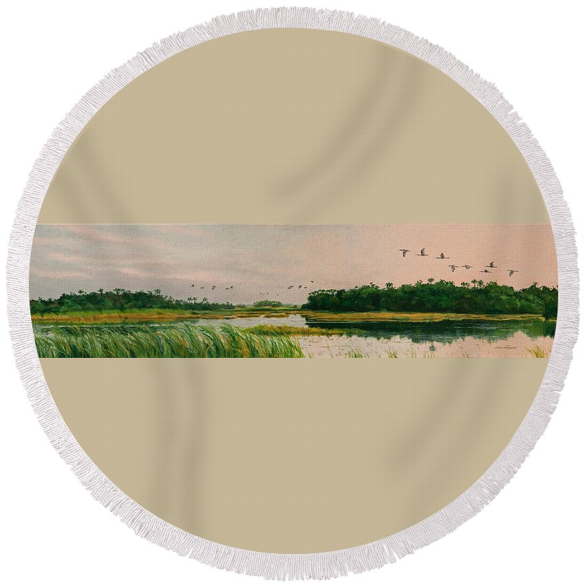 Landscape Round Beach Towel featuring the painting Everglades Dawn by Carol McArdle