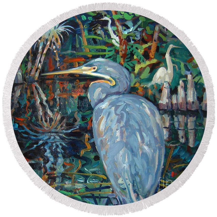 Blue Herron Round Beach Towel featuring the painting Everglades by Donald Maier