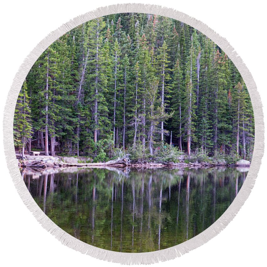 Bearlake Round Beach Towel featuring the photograph Evergreen Reflections by Jeff Bord