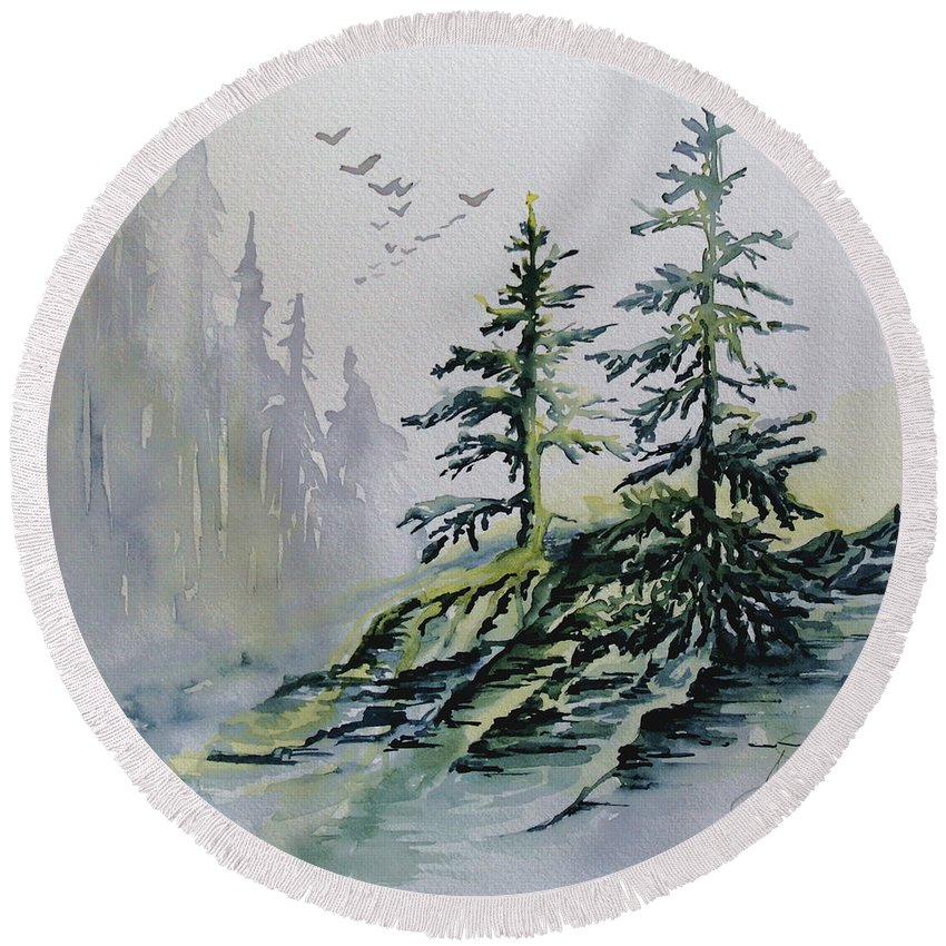 Watercolor Evergreens Round Beach Towel featuring the painting Evergreens In The Mist by Joanne Smoley