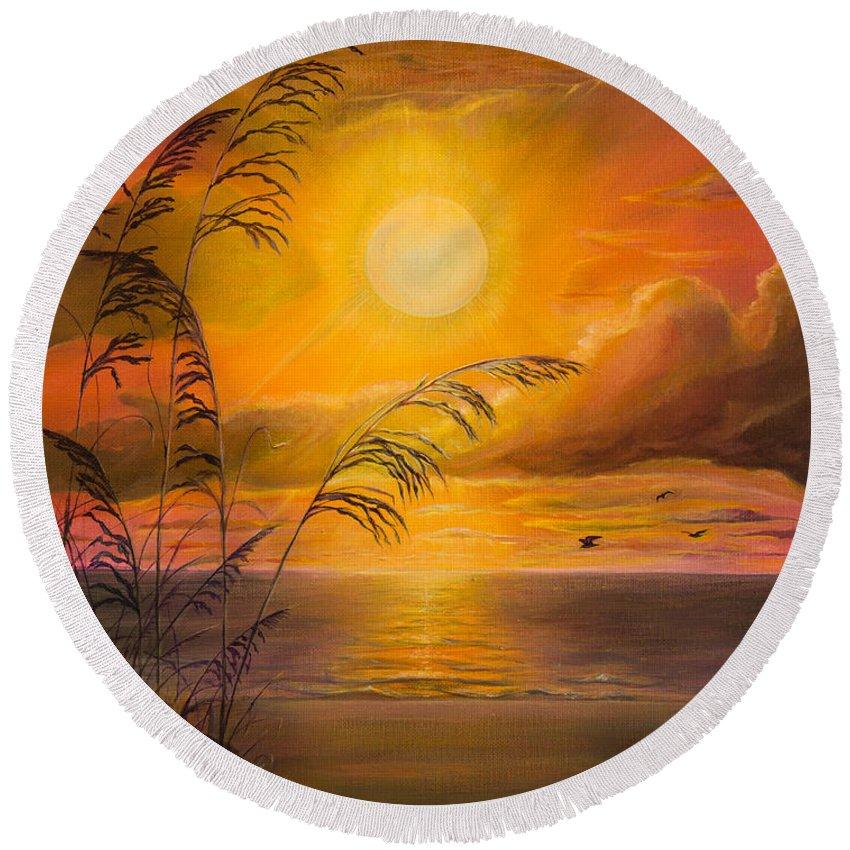 Sunrise Round Beach Towel featuring the painting Everyday Sunrise by Zina Stromberg