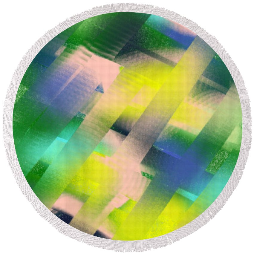 Abstract Round Beach Towel featuring the painting Everything Matters by Frances Ku