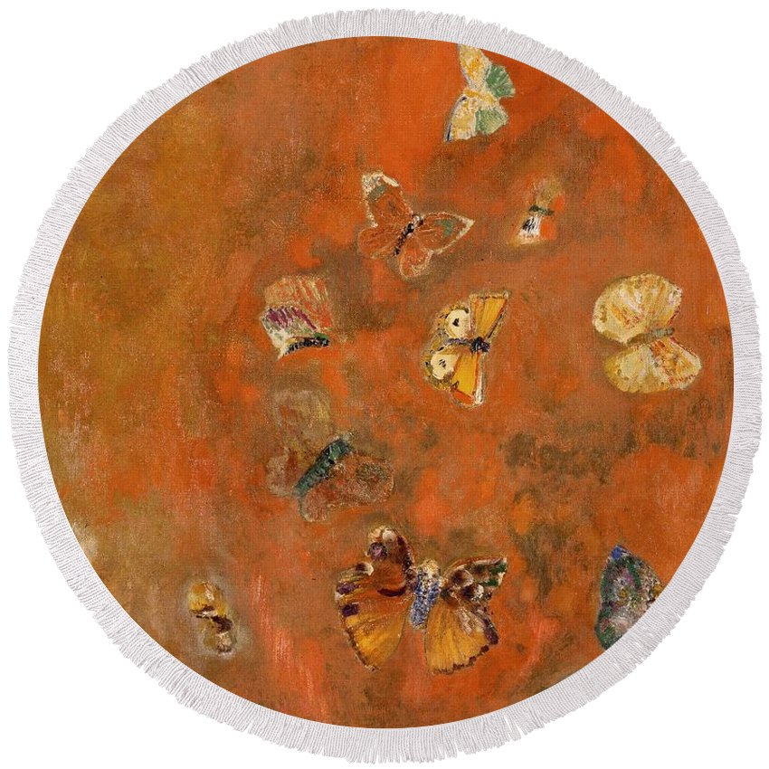 Evocation Round Beach Towel featuring the painting Evocation of Butterflies by Odilon Redon