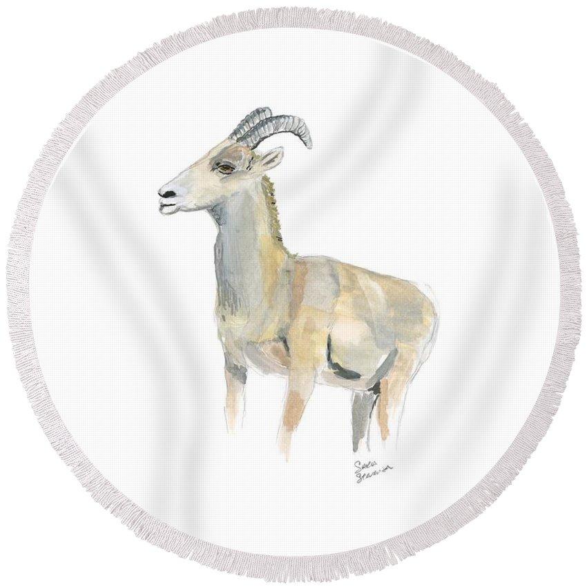 Bighorn Sheep Round Beach Towel featuring the painting Ewe by Sara Stevenson