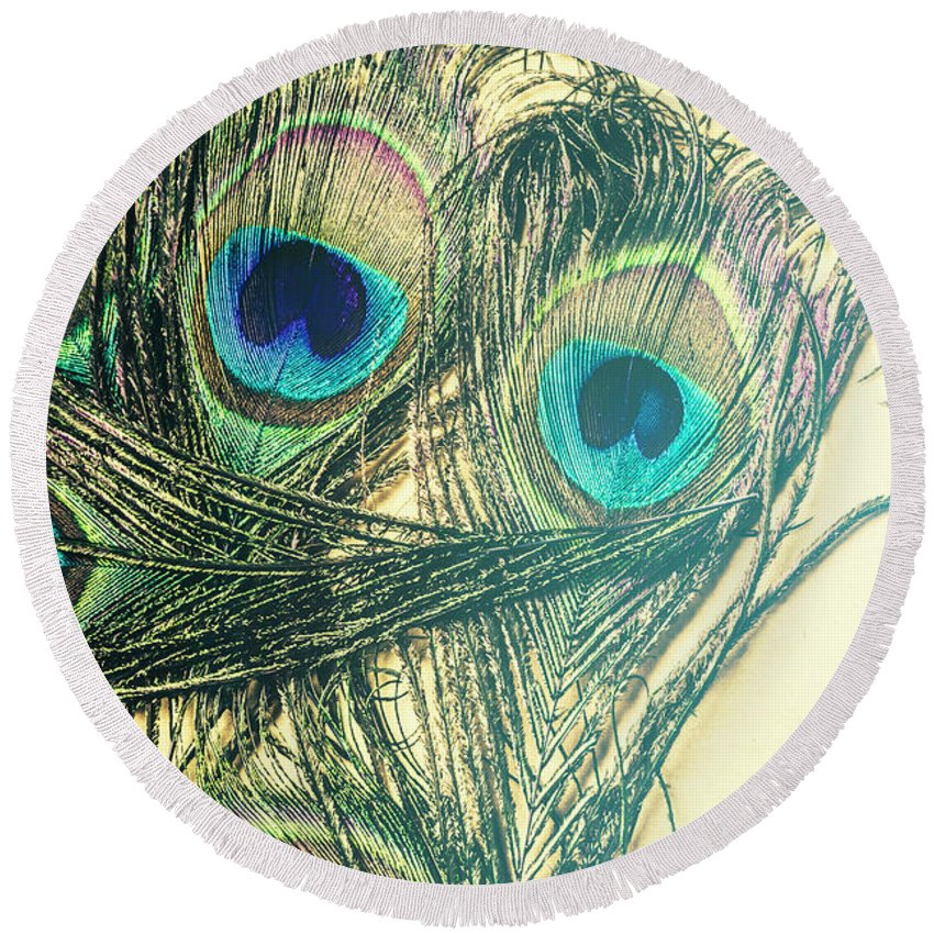Exotic Round Beach Towel featuring the photograph Exotic Eye Of The Peacock by Jorgo Photography - Wall Art Gallery