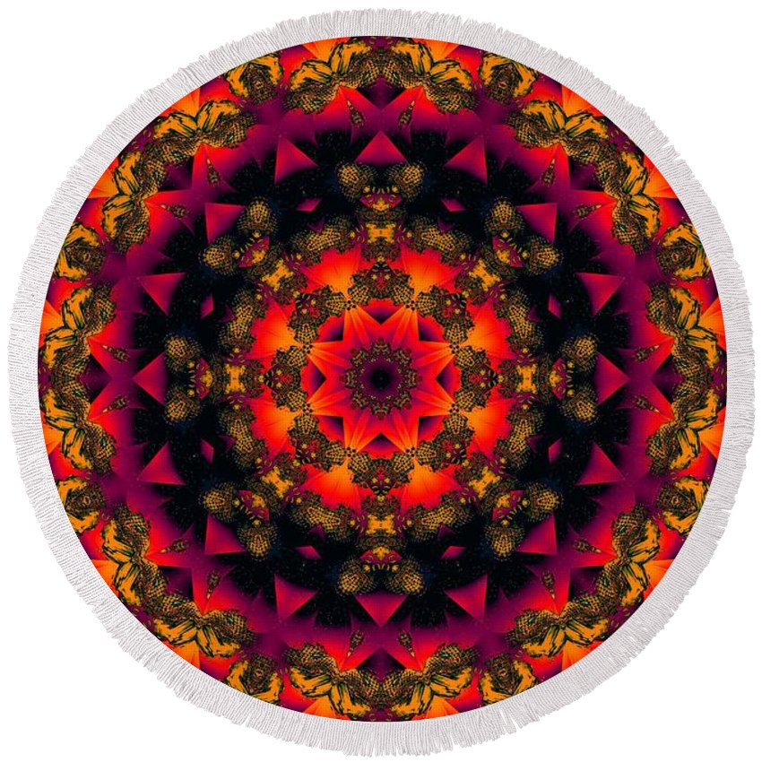 Colorful Round Beach Towel featuring the digital art Exotic Nights by Robert Orinski