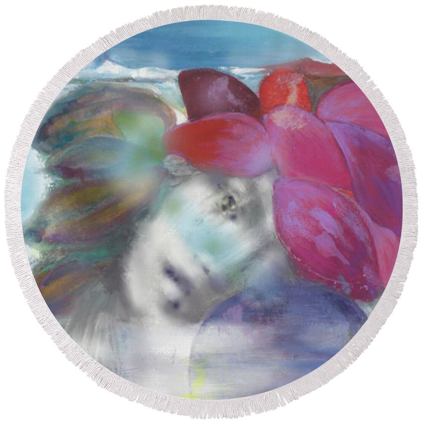 Dreamscape Round Beach Towel featuring the painting Exotiqua Lady by Naike Jahgan