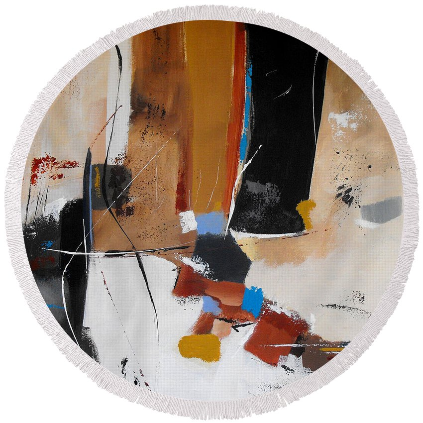 Abstract Round Beach Towel featuring the painting Expectations by Ruth Palmer