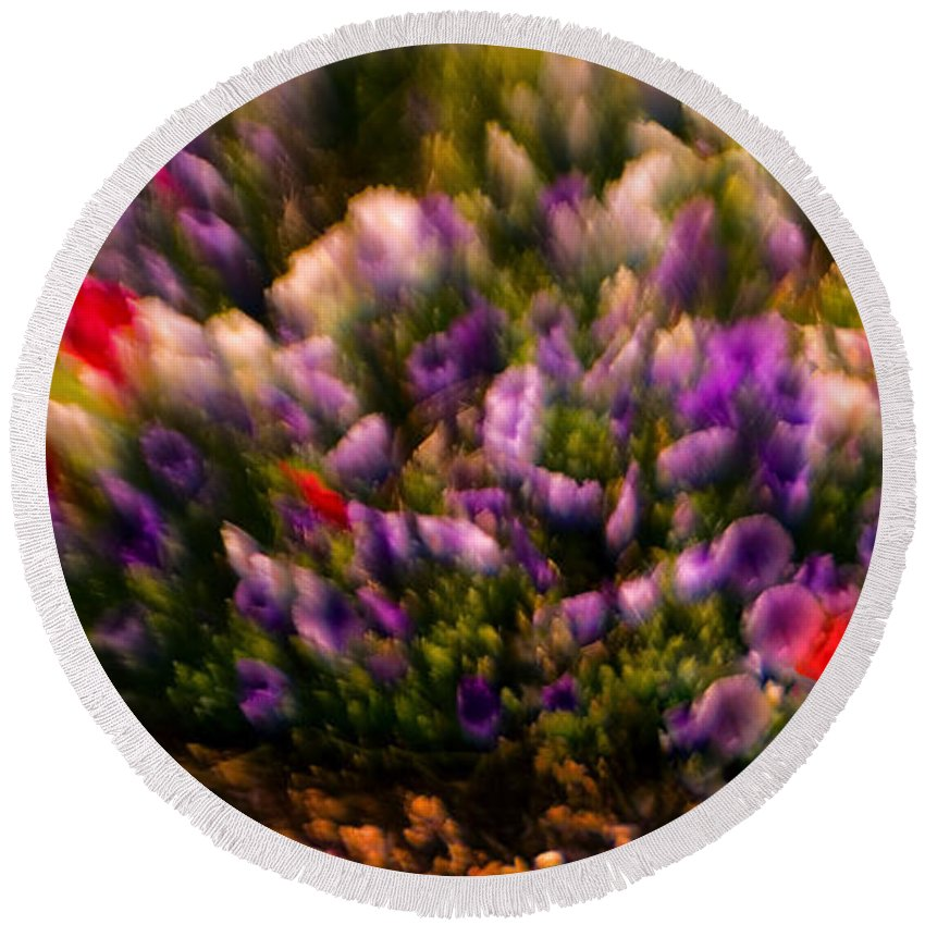 Flowers Round Beach Towel featuring the photograph Exploding Flowers 1 by Madeline Ellis