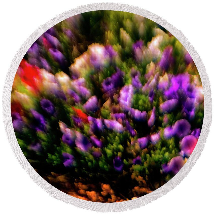 Flowers Round Beach Towel featuring the photograph Exploding Flowers 2 by Madeline Ellis
