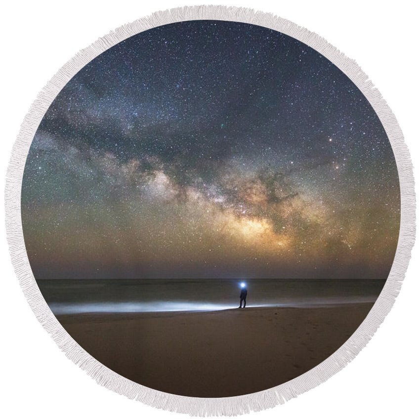 Explore The Shore Round Beach Towel featuring the photograph Explore The Shore - Midnight Explorer Series by Michael Ver Sprill
