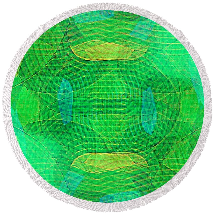 Abstract Extrapolation Round Beach Towel featuring the painting Explore Transdimensions 33 by Trent Jackson