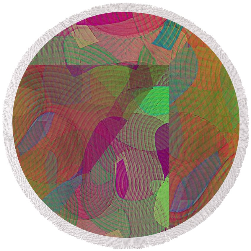 Abstract Extrapolation Round Beach Towel featuring the painting Explore Transdimensions Angle 44 by Trent Jackson