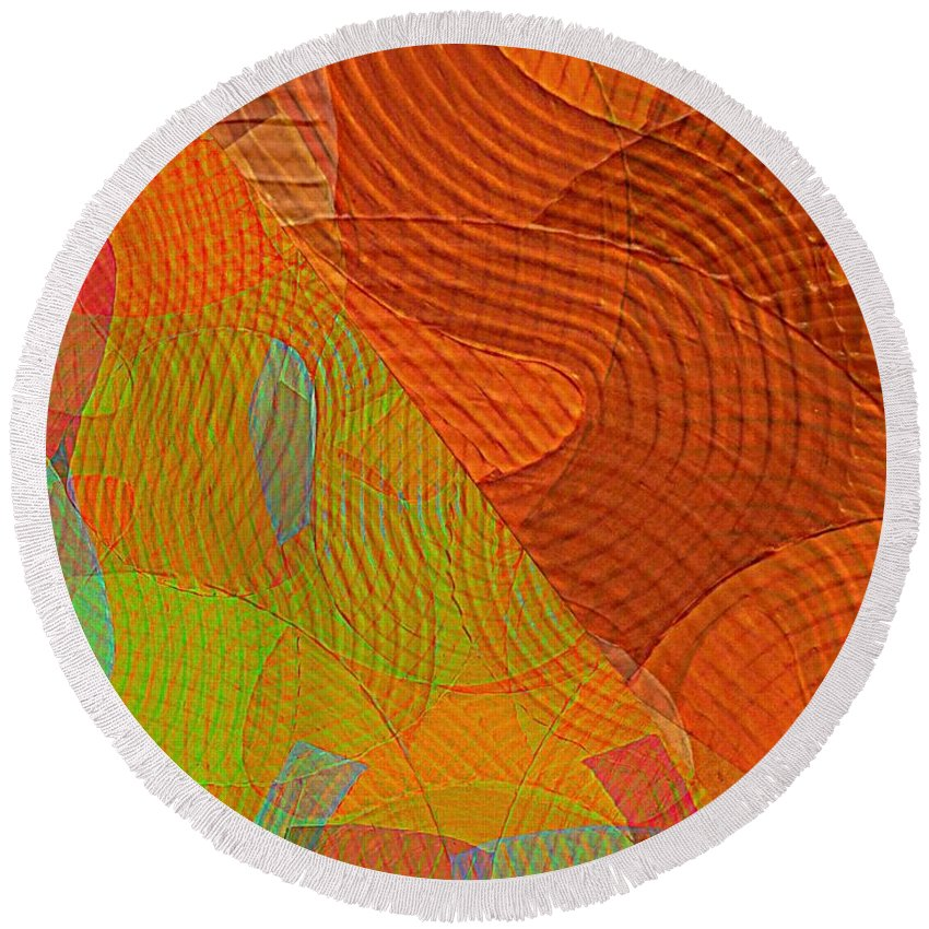 Abstract Extrapolation Round Beach Towel featuring the painting Explore Transdimensions 24 by Trent Jackson