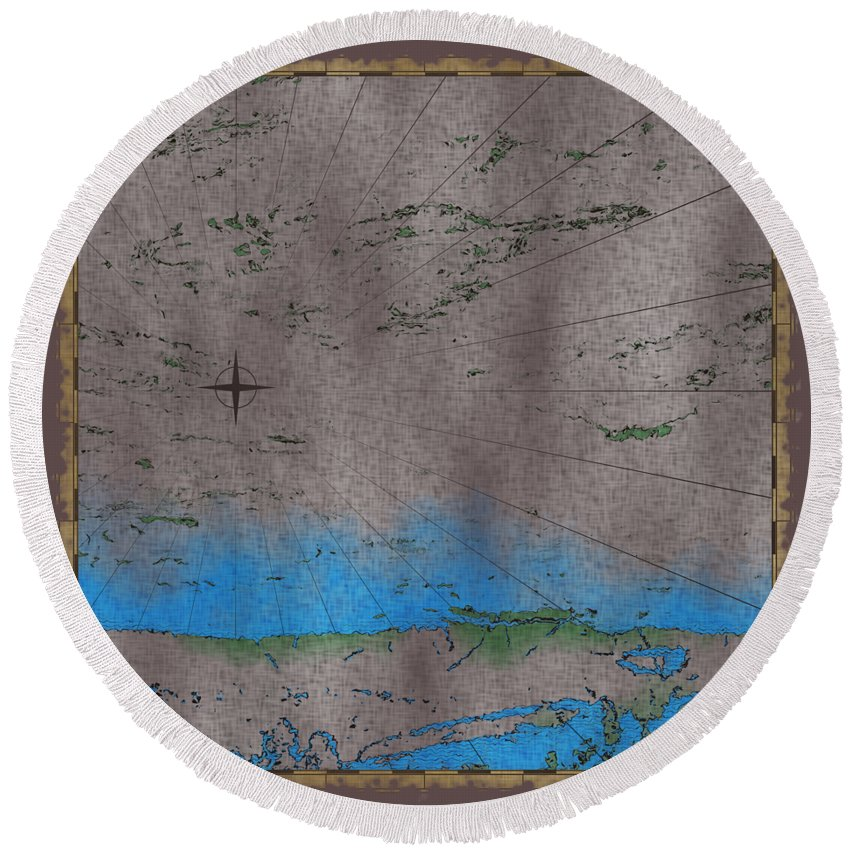 Cartography Round Beach Towel featuring the photograph Explorer Gray by John M Bailey