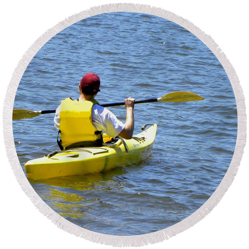 Kayak Round Beach Towel featuring the photograph Exploring In A Kayak by Sandi OReilly