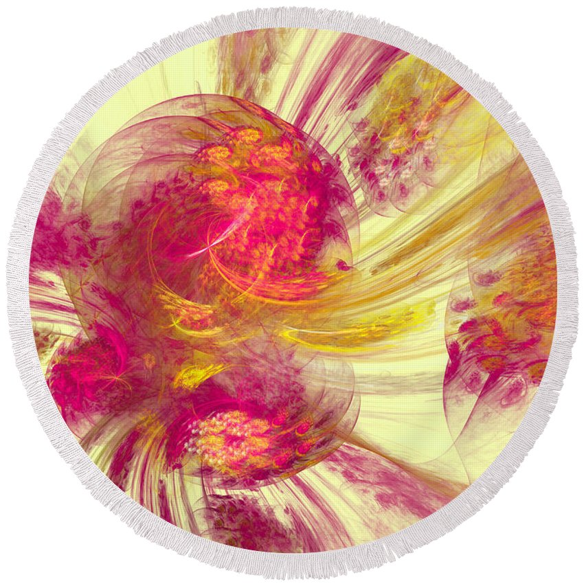 Pink Round Beach Towel featuring the digital art Explosion Of Color by Deborah Benoit