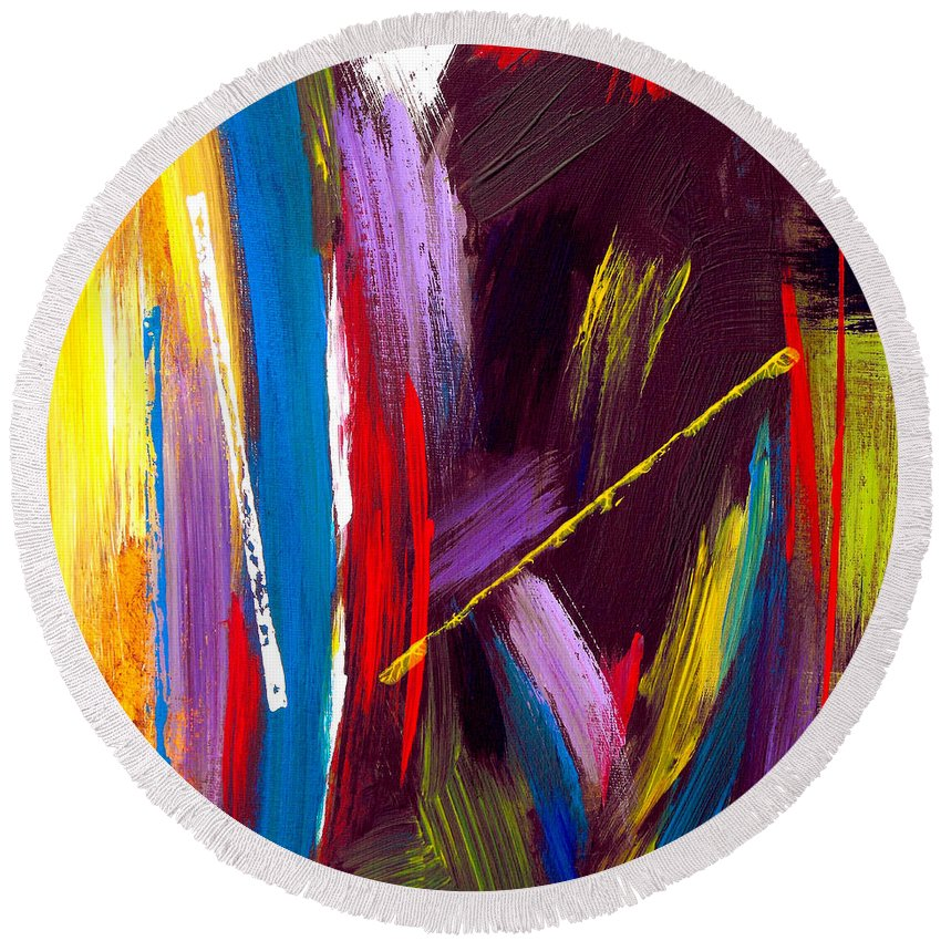 Abstract Round Beach Towel featuring the painting Express Yourself by Ruth Palmer