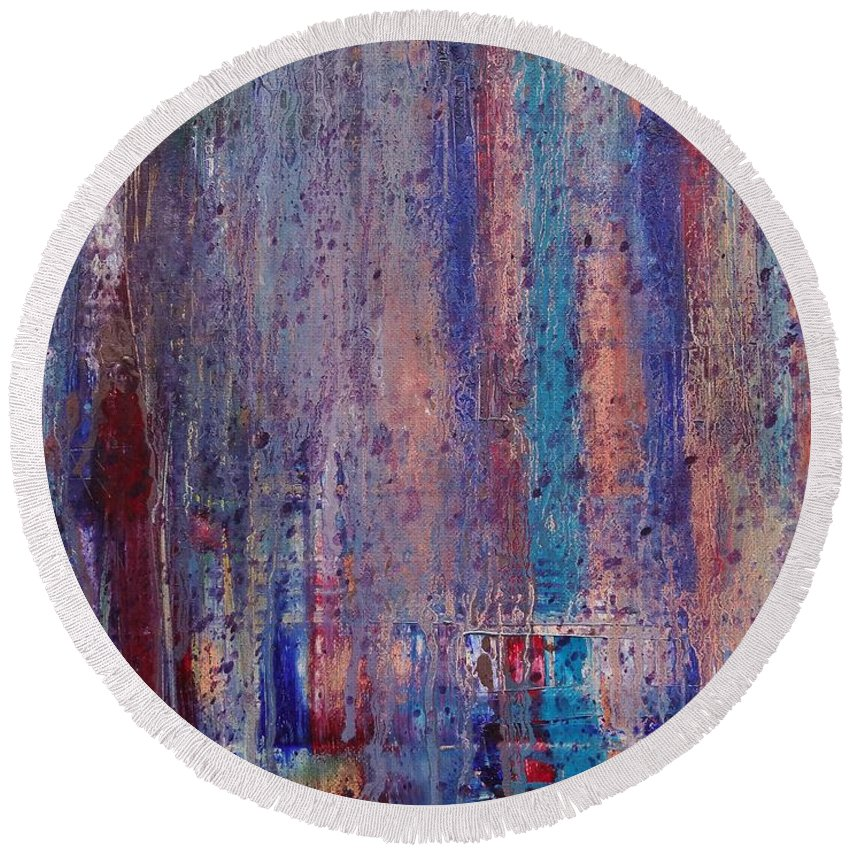 Abstract Round Beach Towel featuring the painting Expression # 9 The Blues Down And Out by Jason Williamson