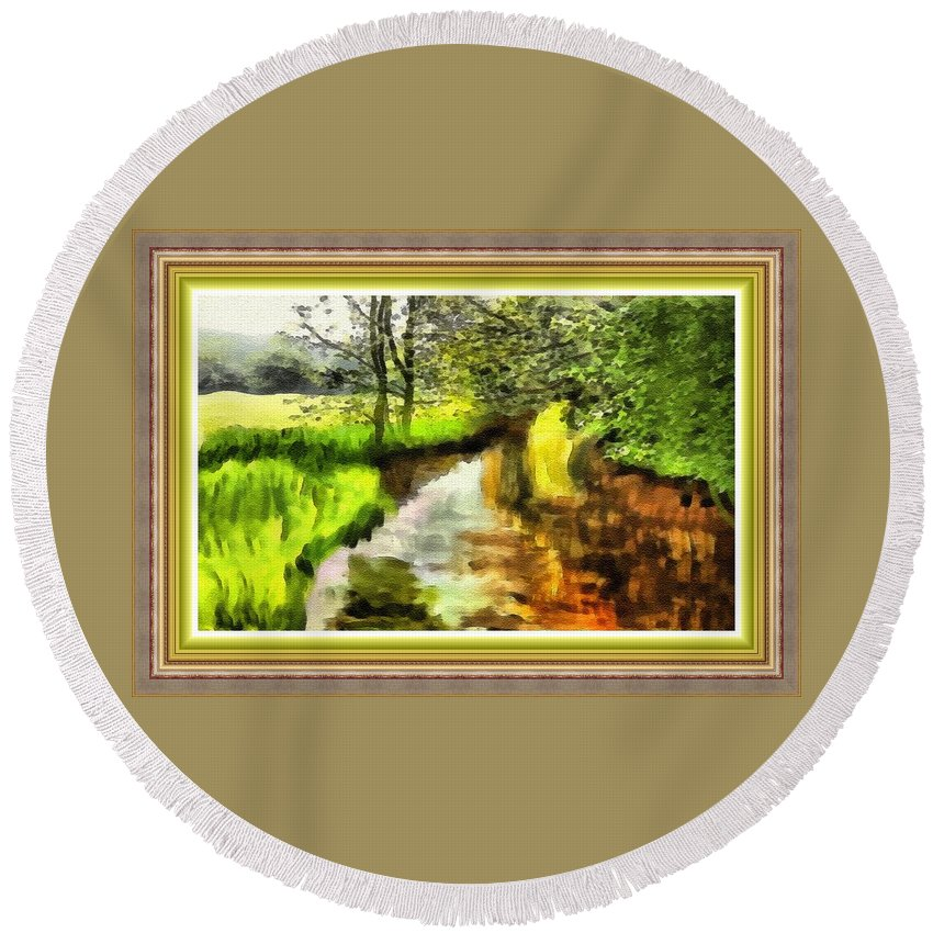 Forest Round Beach Towel featuring the painting Expressionist Riverside Scene L B With Alt. Decorative Printed Frame. by Gert J Rheeders