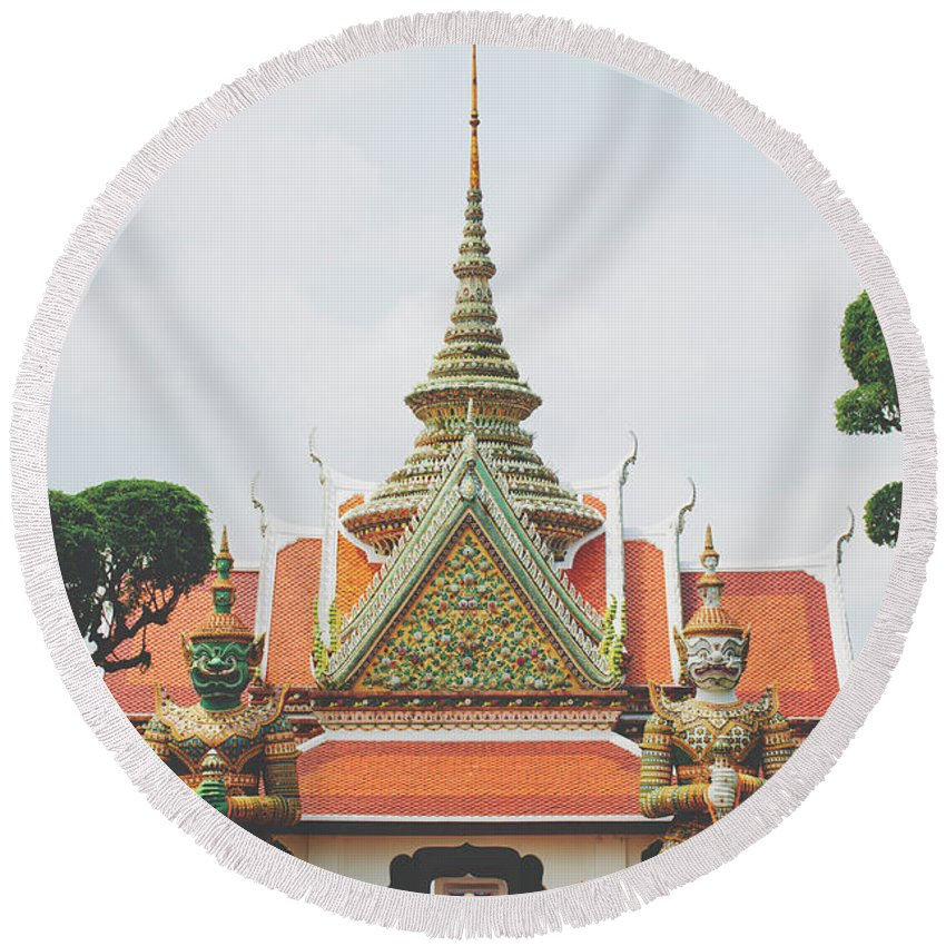 Architecture Round Beach Towel featuring the photograph Exquisite Details On The Building Of Wat Arun In Bangkok, Thailand by Srdjan Kirtic