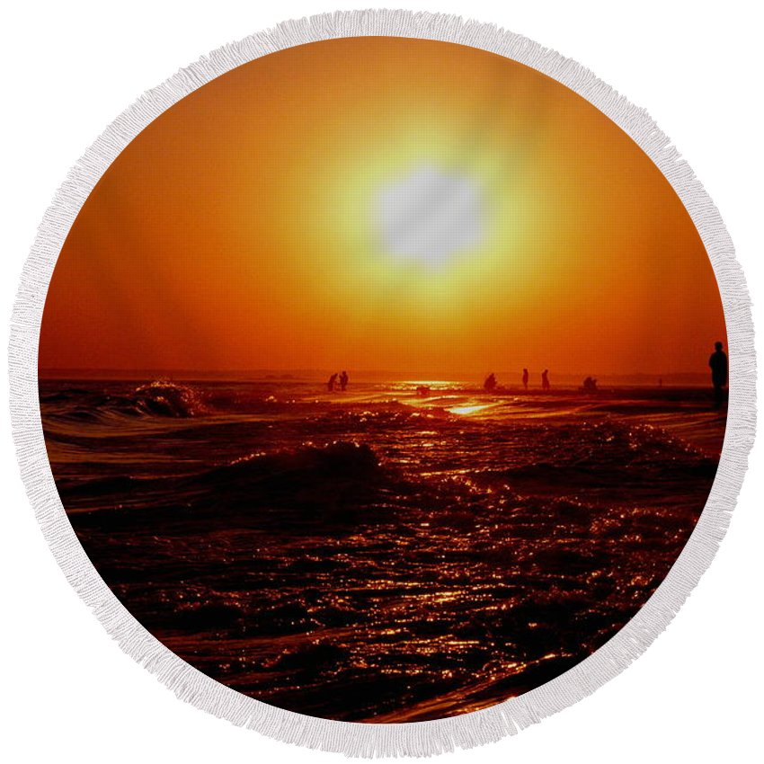Beach Round Beach Towel featuring the photograph Extreme Blazing Sun by Kendall Eutemey