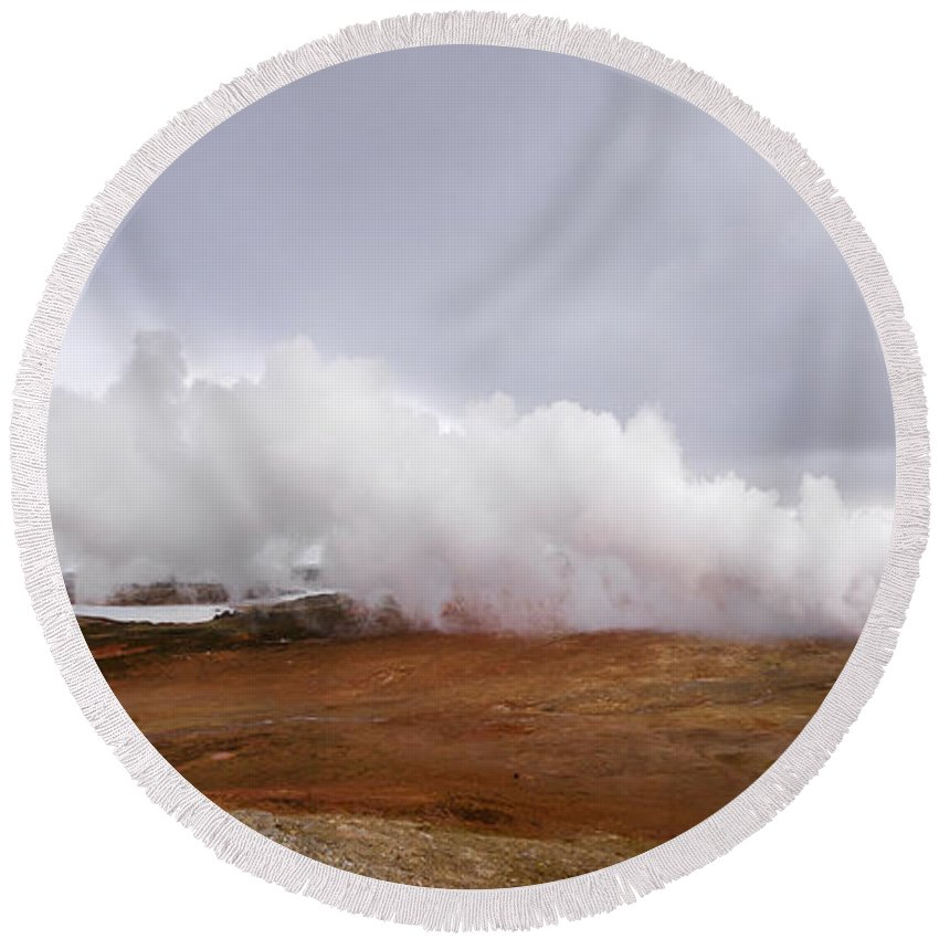 Beautiful Round Beach Towel featuring the photograph Extreme Hot Spring Area by Svetlana Sewell