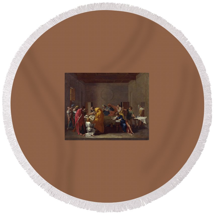Interior Round Beach Towel featuring the digital art Extreme Unction Nicolas Poussin by Eloisa Mannion