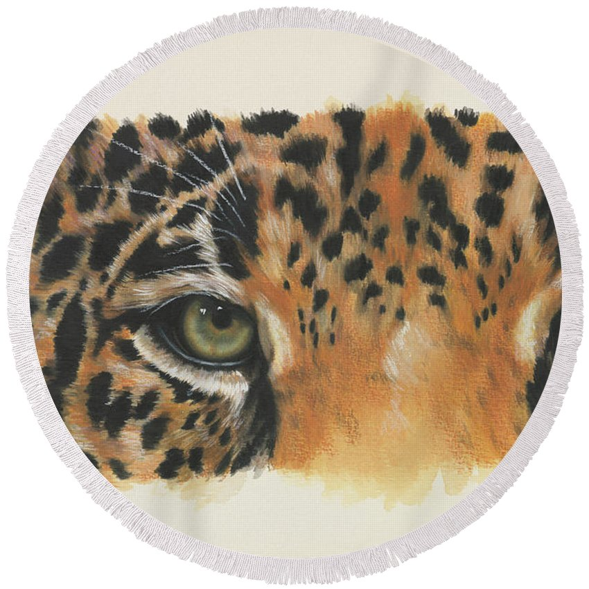 Big Cat Round Beach Towel featuring the painting Eye-catching Jaguar by Barbara Keith
