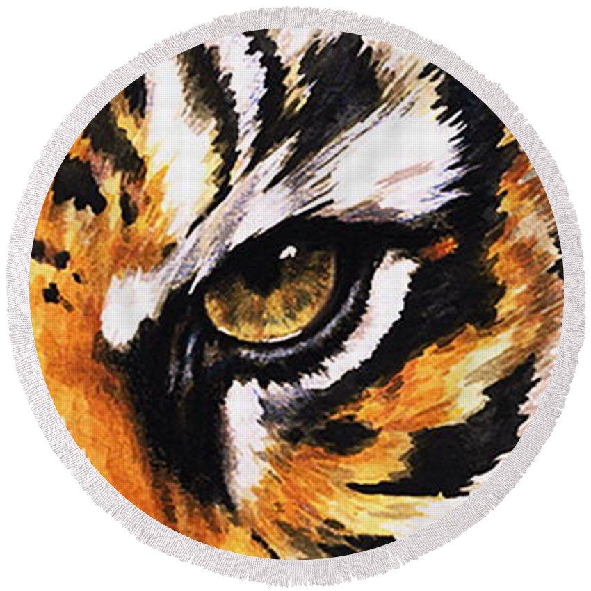 Feline Round Beach Towel featuring the mixed media Sumatran Tiger Glare by Barbara Keith