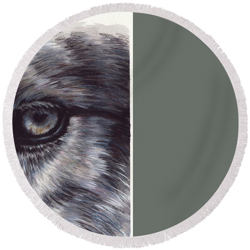 Wolf Round Beach Towel featuring the painting Eye-catching Wolf by Barbara Keith