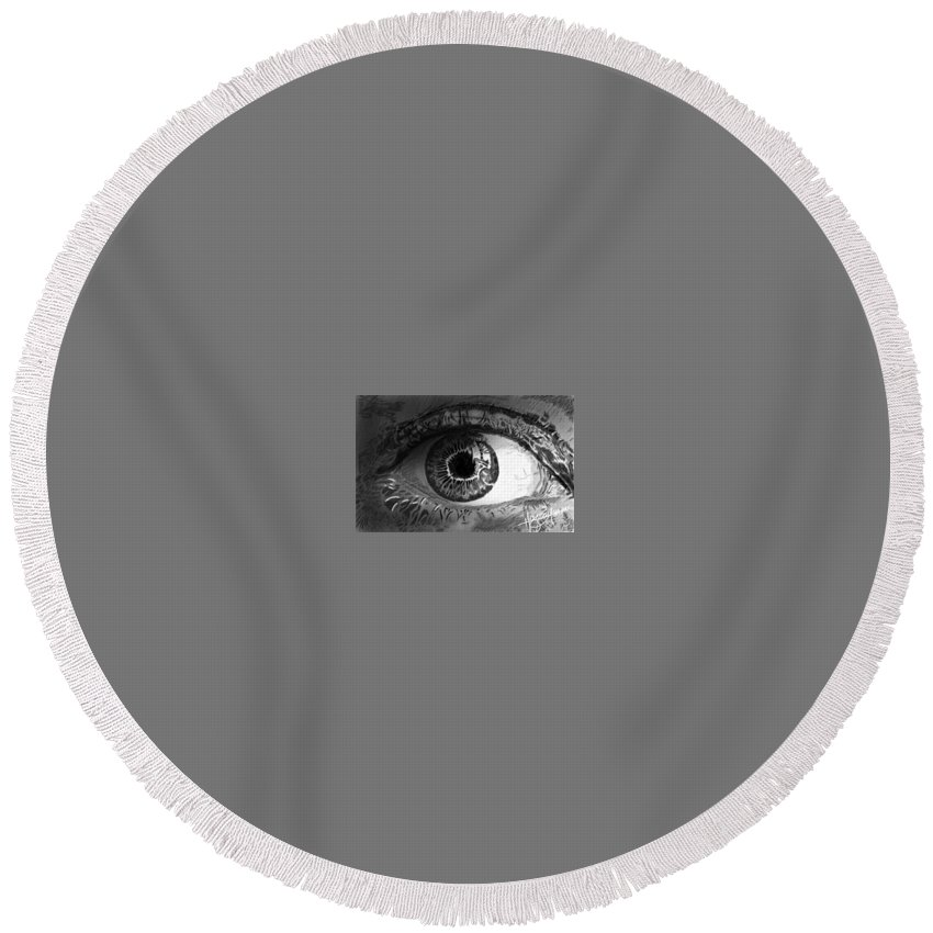 Round Beach Towel featuring the drawing Eye by Hazem Etman