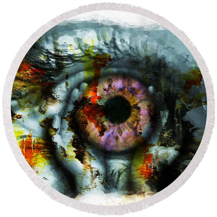 Art Print Round Beach Towel featuring the painting Eye In Hands 001 by Gull G