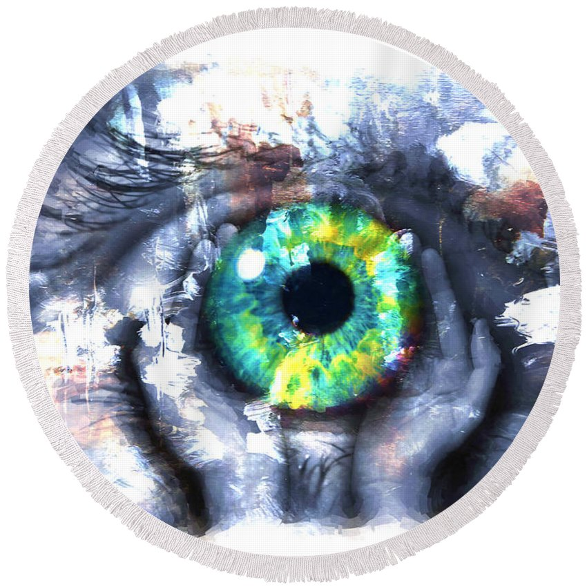 Art Print Round Beach Towel featuring the painting Eye In Hands 002 by Gull G