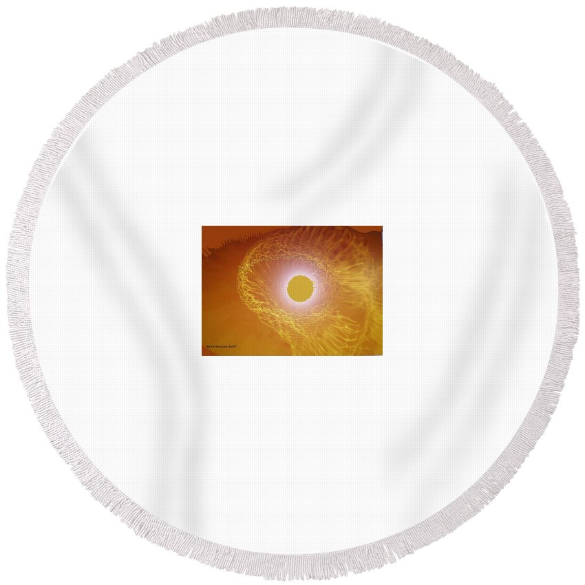 The Powerful Gaze Of The Almighty. Destroying Evil With His Almighty Sight. Round Beach Towel featuring the digital art Eye Of God by Seth Weaver