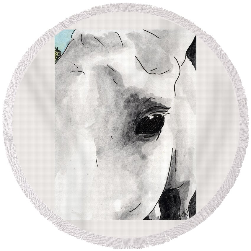 Horse Paintings Round Beach Towel featuring the painting Eye Of The Beauty by Anna Katherine