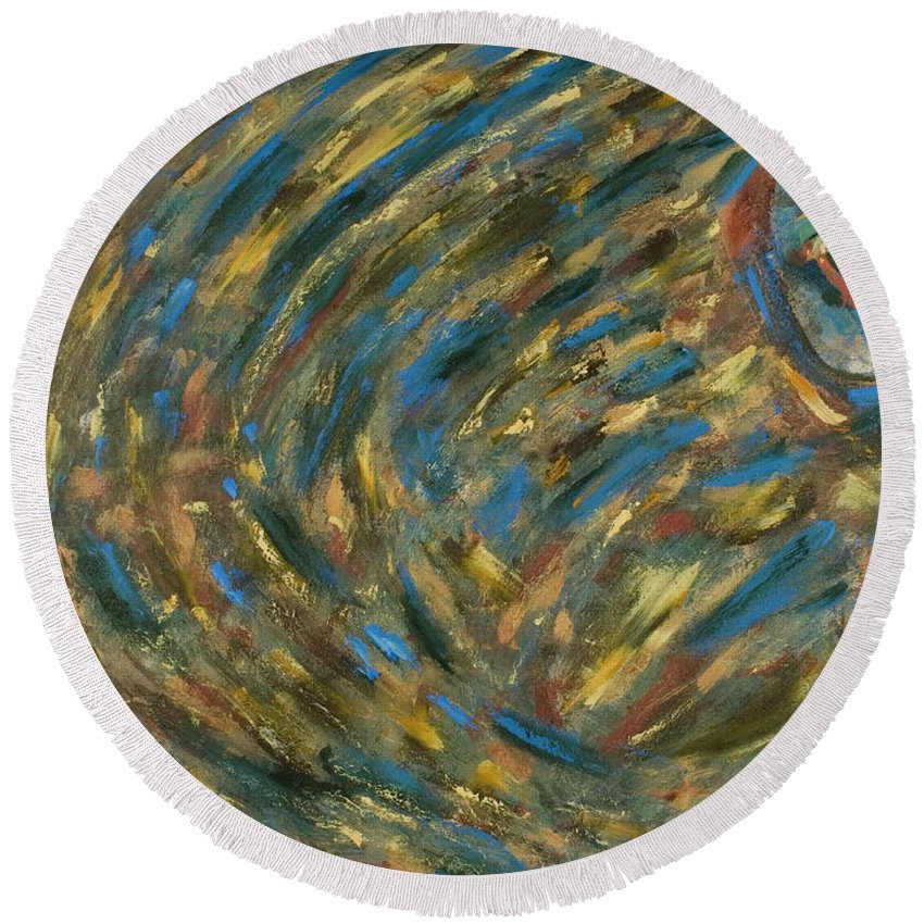 Blue Round Beach Towel featuring the painting Eye Of The Storm by Gretchen Dreisbach