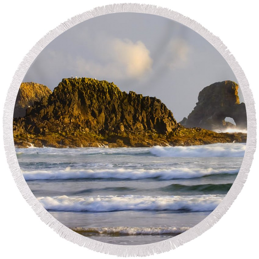 Seastacks Round Beach Towel featuring the photograph Eye Of The Storm by Mike Dawson