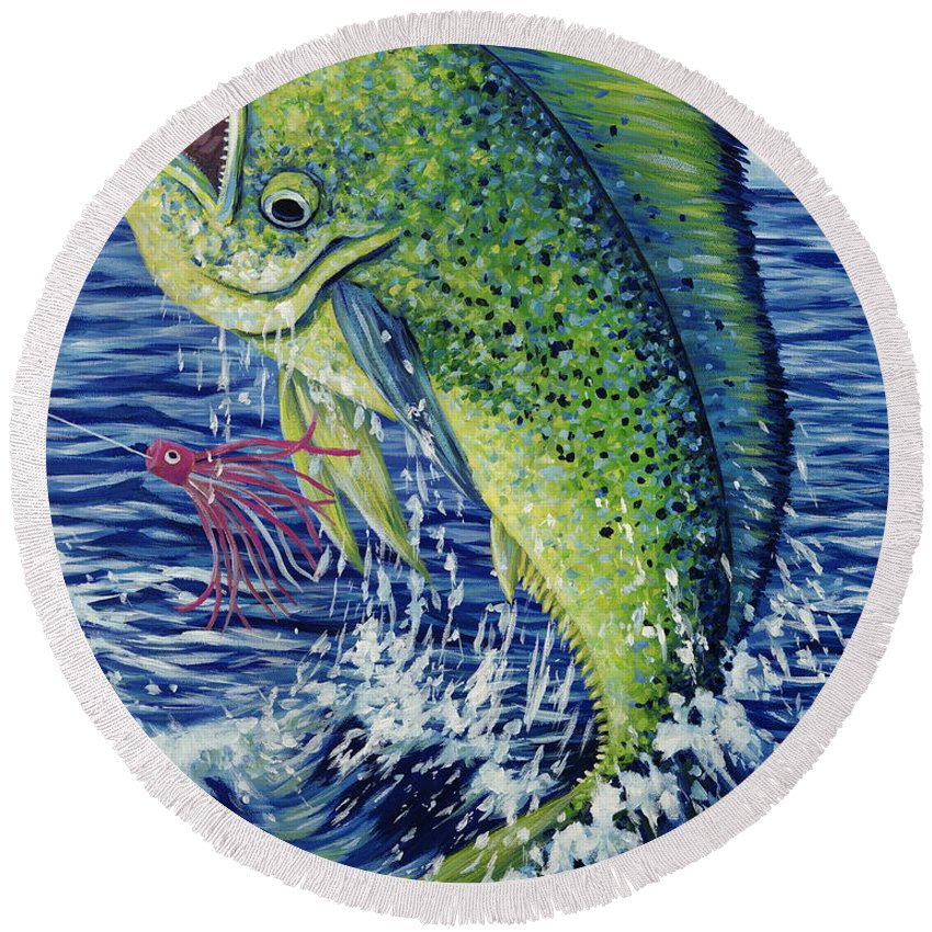 Mahi Mahi Round Beach Towel featuring the painting Eye On The Prize by Danielle Perry